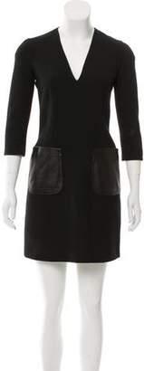 Burberry A-Line Leather-Paneled Dress