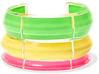 Alison Lou Jelly Set Of Three Lucite And Enamel Cuffs - Green