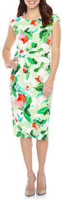 LONDON STYLE Cap Sleeve Floral Sheath Dress