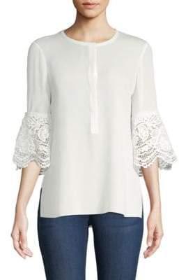 Kobi Halperin Lace Bell-Sleeve Silk Blouse