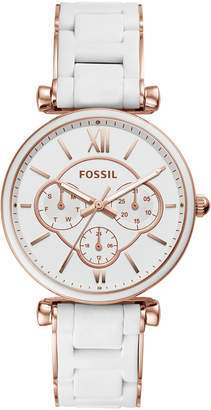 Fossil Women Carlie White Silicone & Rose Gold-Tone Stainless Steel Bracelet Watch 38mm
