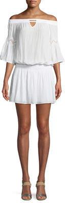 Ramy Brook Nico Off-The-Shoulder Smocked Waist Mini Dress