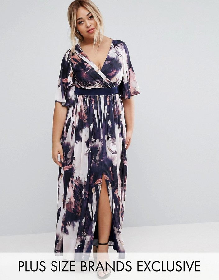 Little Mistress Plus Printed Kimono Sleeve Maxi Dress