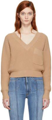 Chloé Pink Pocket V-Neck Sweater