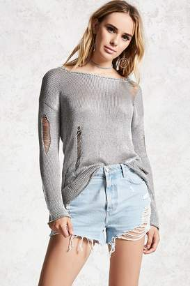 Forever 21 Distressed Metallic Sweater