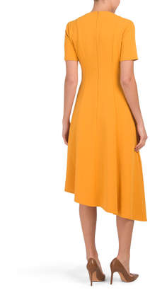 Donna Morgan Short Sleeve Asymmetrical Hem Dress
