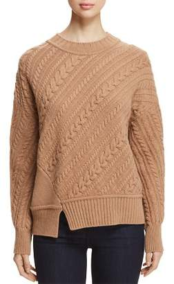 Max Mara Grolla Virgin Wool Asymmetric Cable-Knit Sweater