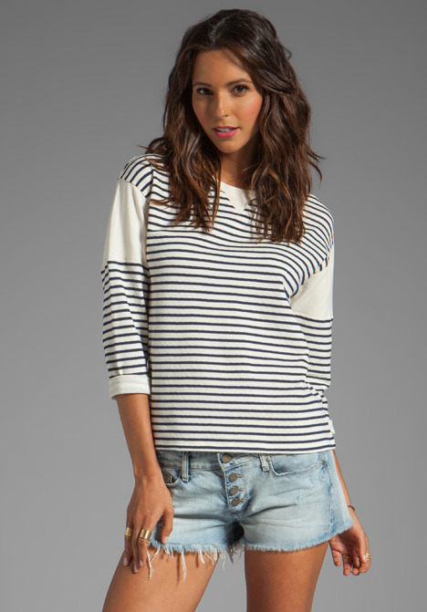 Theory Sotiya Striped Sweater in Navy/Ivory