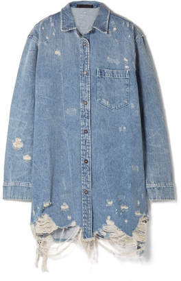Alexander Wang Oversized Distressed Denim Jacket - Light denim
