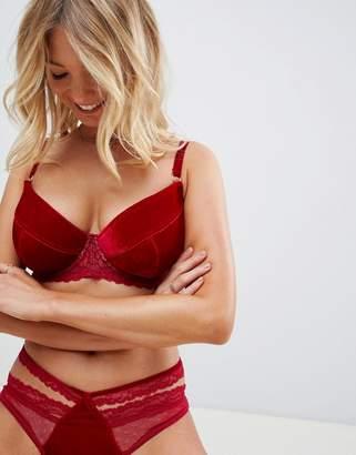 Asos (エイソス) - ASOS DESIGN Fuller Bust Valentines Emma velvet & lace padded plunge underwire bra