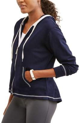 Athletex Women's French Terry Full Zip Hoodie with Contrast Zipper