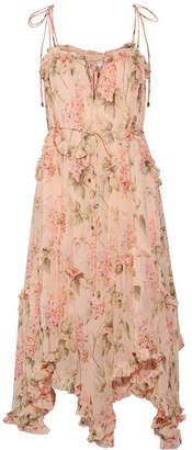 Zimmermann Prima Asymmetric Ruffled Floral-print Silk-georgette Midi Dress - Peach