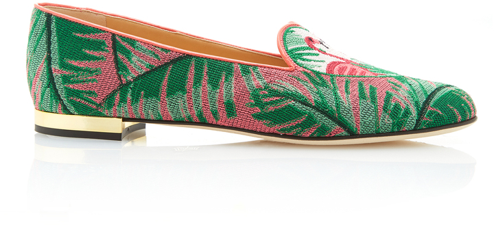 Charlotte Olympia Charlotte Olympia M'O Exclusive: Flamingo Embroidered Canvas Slippers