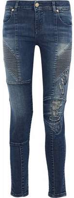 Pierre Balmain Distressed Paneled Mid--Rise Skinny Jeans