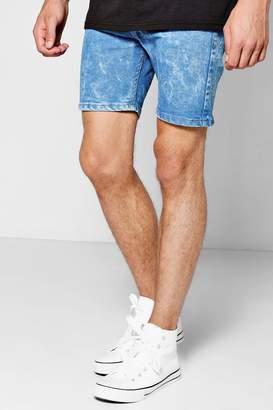 boohoo Pale Blue Skinny Fit Bleach Wash Denim Shorts
