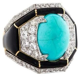 David Webb Turquoise, Diamond & Enamel Manhattan Minimalism Ring