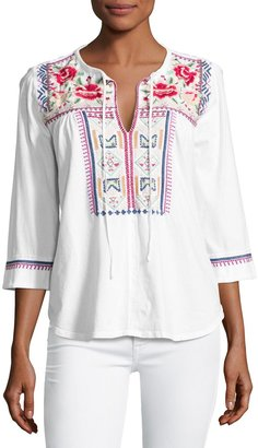 JWLA For Johnny Was Boho Embroidered Tee, White $99 thestylecure.com