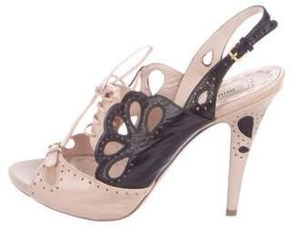 Miu Miu Slingback Lace-Up Sandals