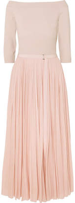 Alexander McQueen Off-the-shoulder Ribbed Jersey And Plissé-chiffon Midi Dress - Blush