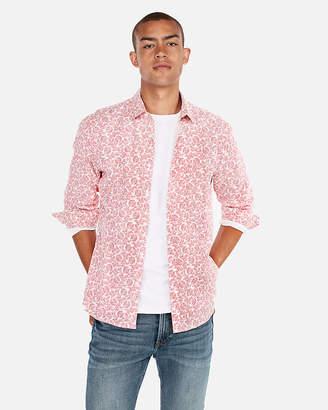 Express Slim Floral Pattern Linen-Blend Shirt