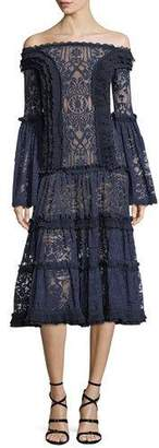 Jonathan Simkhai Off-the-Shoulder Tower Mesh Lace Midi Cocktail Dress