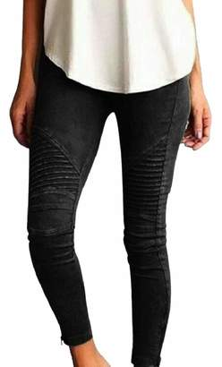 RG-CA Womens Skinny Stretch Pleated Casual Pencil Moto Pants Jeggings L
