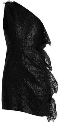 Msgm - One Shoulder Ruffled Lace Mini Dress - Womens - Black