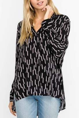 Lush Black Patterned Blouse