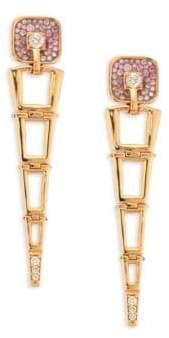 Pleve Opus Pink Diamond& 18K Yellow Gold Egyptian Drop Earrings