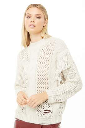 Forever 21 Fringe-Trim Mixed-Knit Sweater