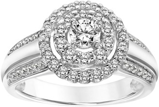 Affinity Diamond Jewelry Contemporary Halo Diamond Ring, 14K, 7/10 cttw,by Affinity