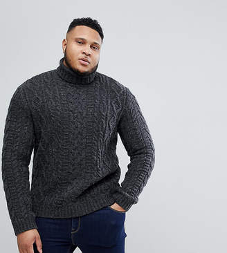 Asos Plus Cable Knit Roll Neck Jumper In Washed Black