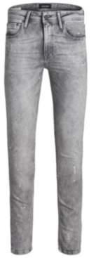 Jack and Jones Men's Skinny Fit Grey Liam Jeans With Paint Splatter