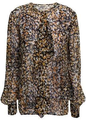 5736f3e096eb1 Roberto Cavalli Ruffled Printed Silk-voile Blouse