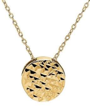 Lord & Taylor Textured Circle 14K Yellow Gold Pendant Necklace