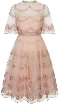 Luisa Beccaria Scalloped Floral Tulle Mini Dress