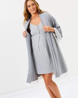 Angel Maternity 3 Piece Hospital Pack - Nursing Dress + Lace Robe + Baby Wrap Set