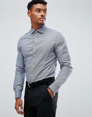 Asos Smart Stretch Slim Puppy Tooth Check Shirt With Cutaway Collar And Double Cuffs