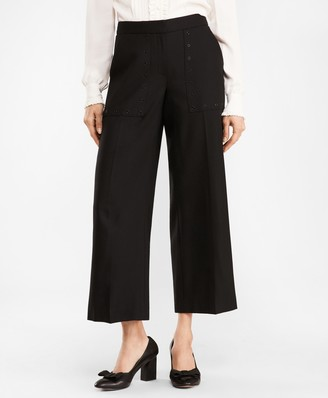 Brooks Brothers Stretch Wool Wide-Leg Cropped Pants