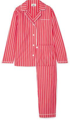 Sleepy Jones - Bishop Striped Cotton-poplin Pajama Set - Tomato red