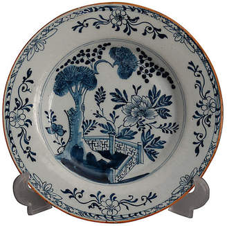 One Kings Lane Vintage 18th-C. Delft Chinoiserie Plate - Faded Rose Antiques LLC