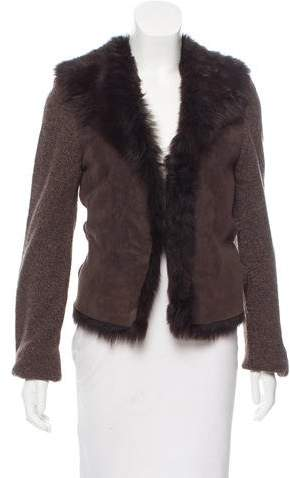 Façonnable Faux Fur-Trimmed Suede and Wool Cardigan