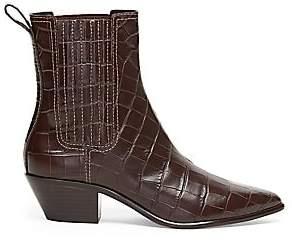 Loeffler Randall Women's Aylin Croc-Embossed Leather Western Booties