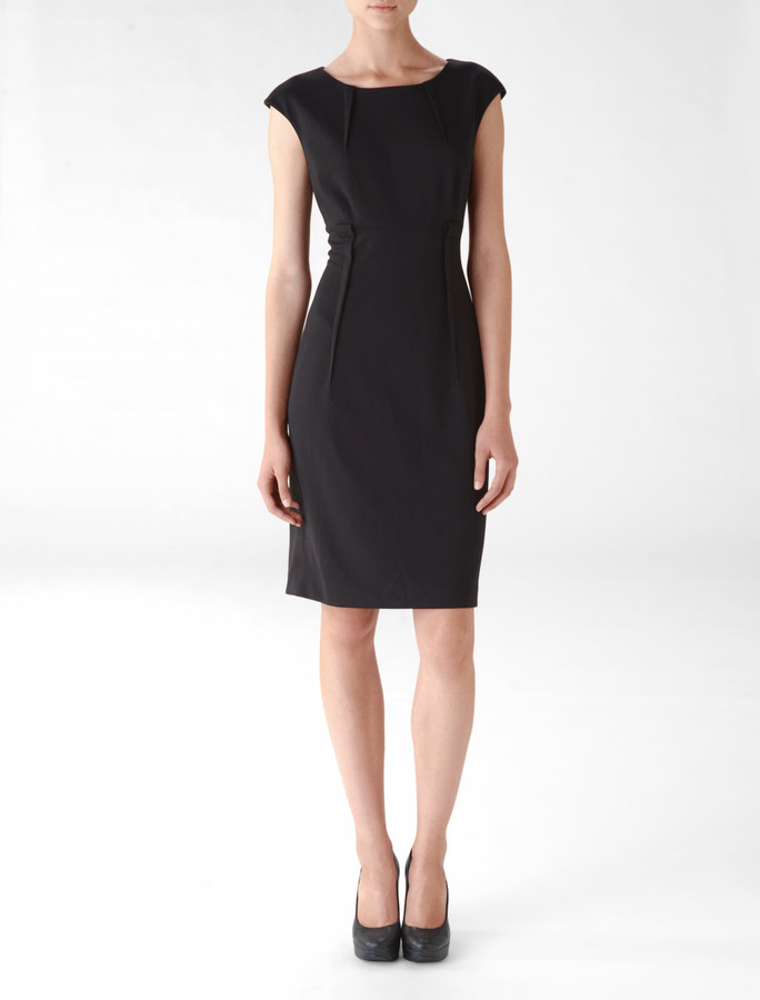 Belted Cap Sleeve Sheath Dress