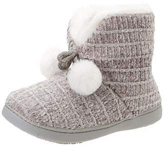 Isotoner Women's Chenille Boot Poms Slippers Low-Top (Grey Gry), 40 EU