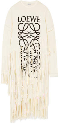 Loewe Fringed Printed Cotton And Silk-blend Jersey Dress - Beige