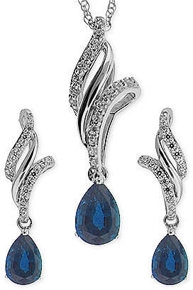 No Vendor Sapphire (1-1/10 ct. t.w.) and White Topaz (3/8 ct. t.w.) Jewelry Set in Sterling Silver