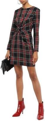 Maje Twist-front Checked Twill Mini Dress