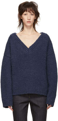 Bottega Veneta Blue Alpaca Wool V-Neck Sweater