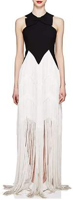 Givenchy Women's Bow-Detailed Wool Fringed Gown